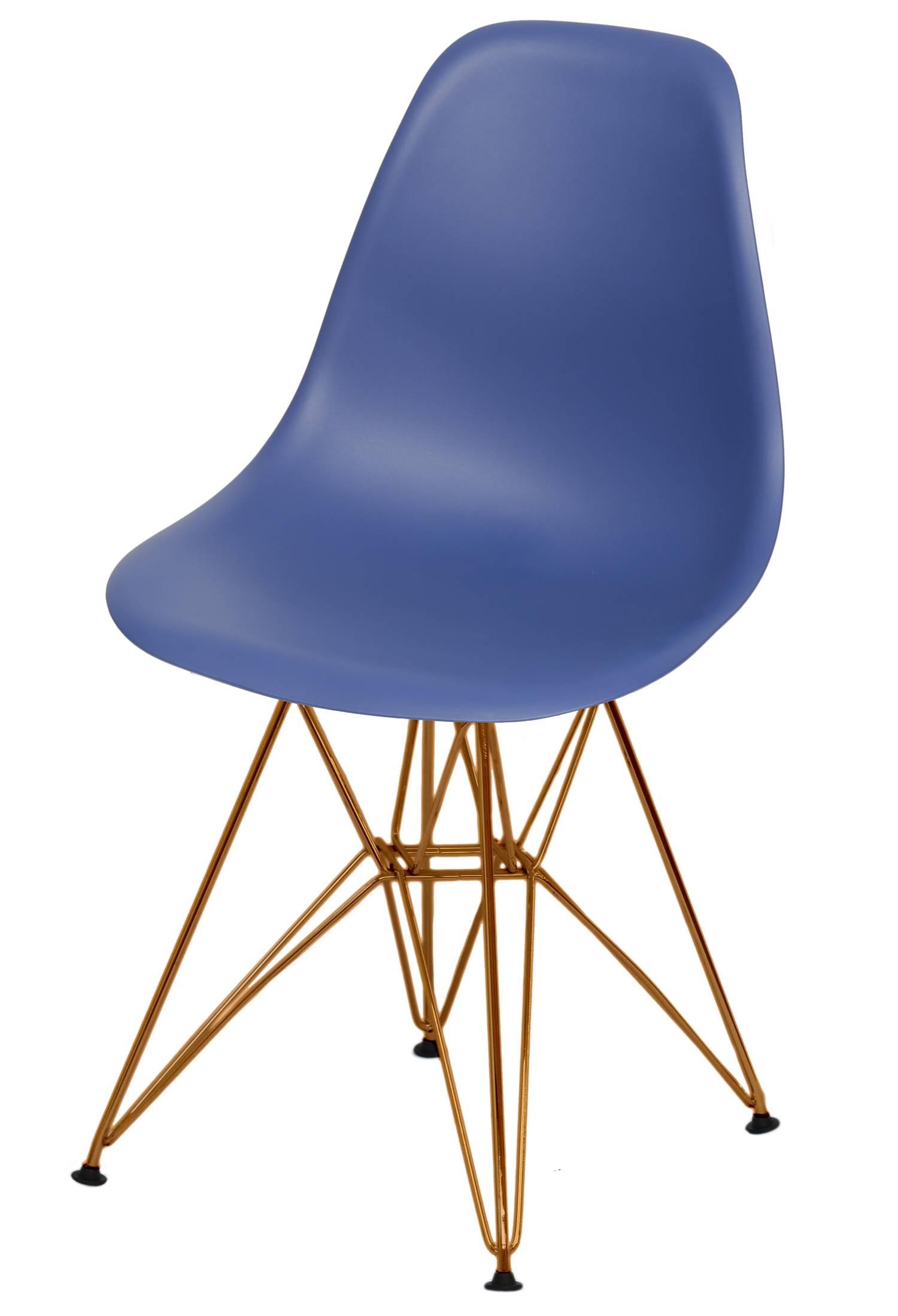 Cadeira Eames Polipropileno Azul Marinho Base Cobre - 49368