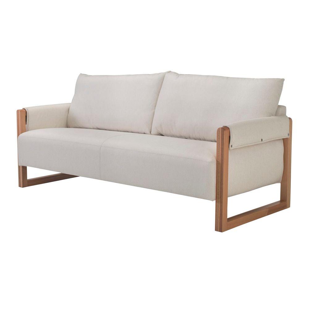 b8495127389 Sofa Trebian Cinza com Pes Madeira Macica Jequitiba 3 Lugares -49496 -  SunHouse