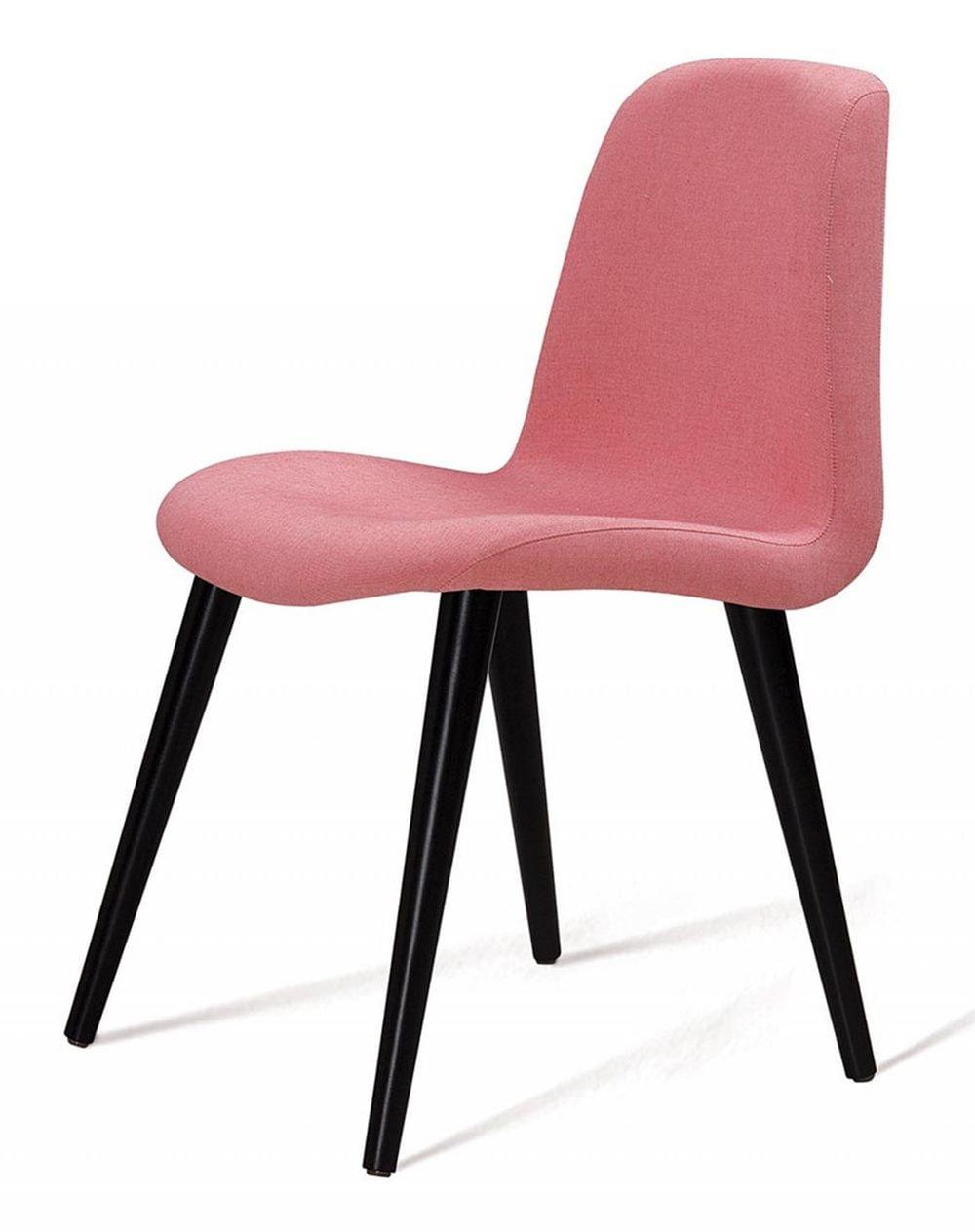 Cadeira Estofada Jacob Rosa Pes Palito Preto - 49522