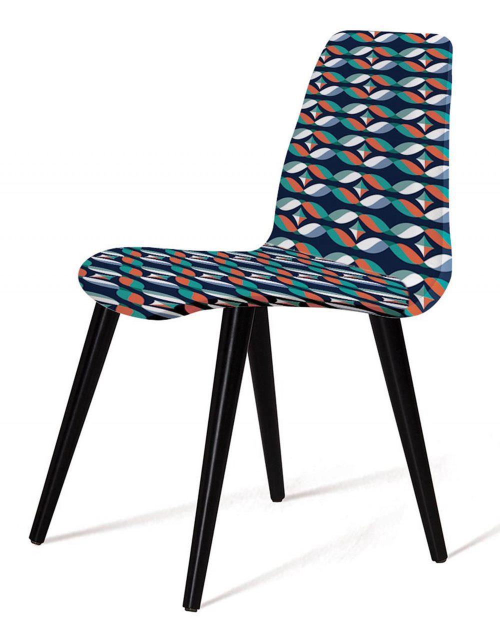 Cadeira Estofada Jacob Estampa Geo Gre Pes Palito Preto - 49531