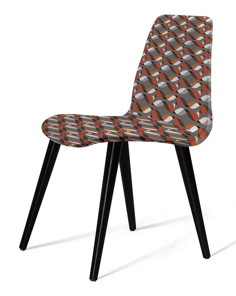 Cadeira Estofada Jacob Estampada com Pes Palito Preto - 49533