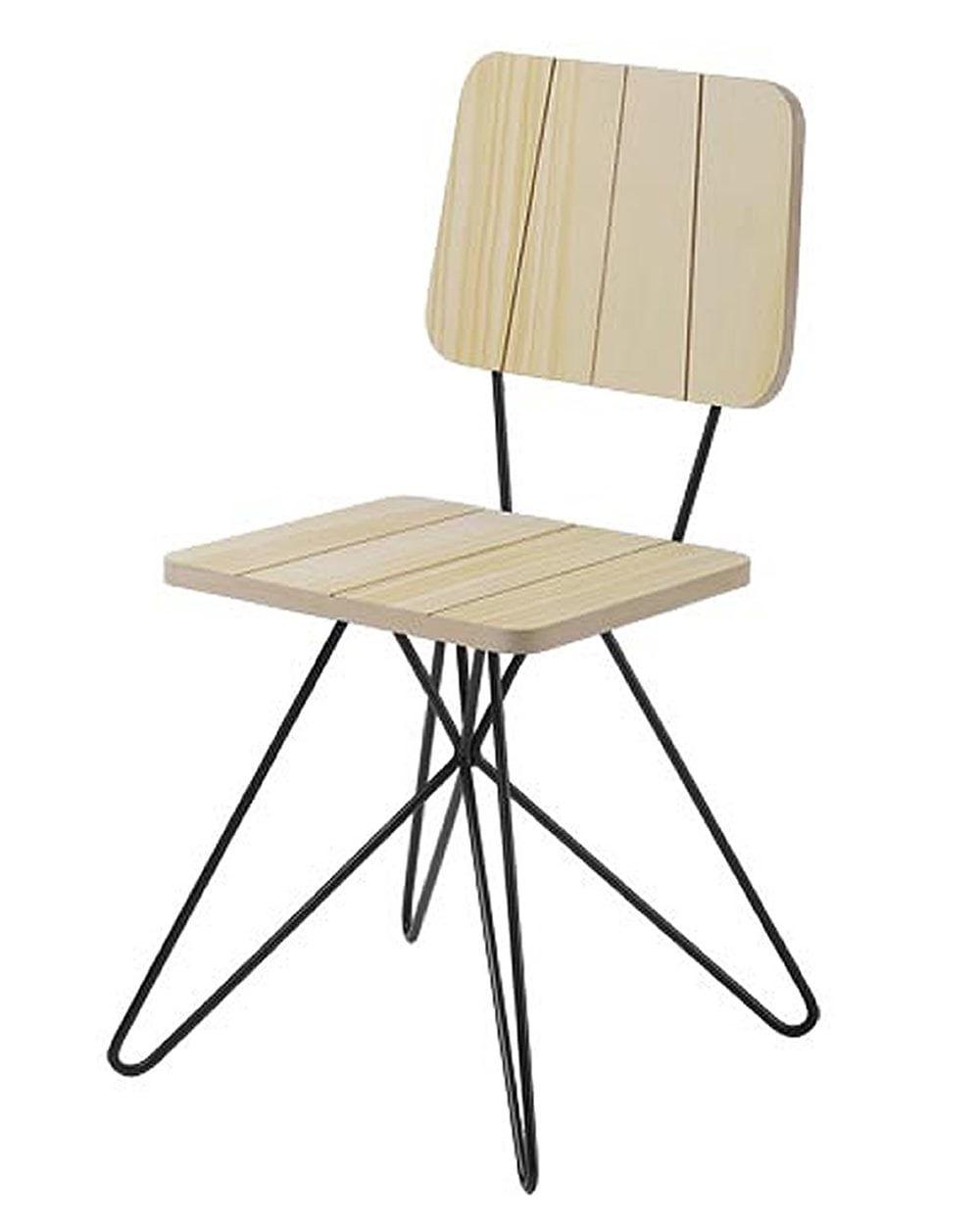Cadeira Costinha Pinus com Base Estrela Preta - 49554