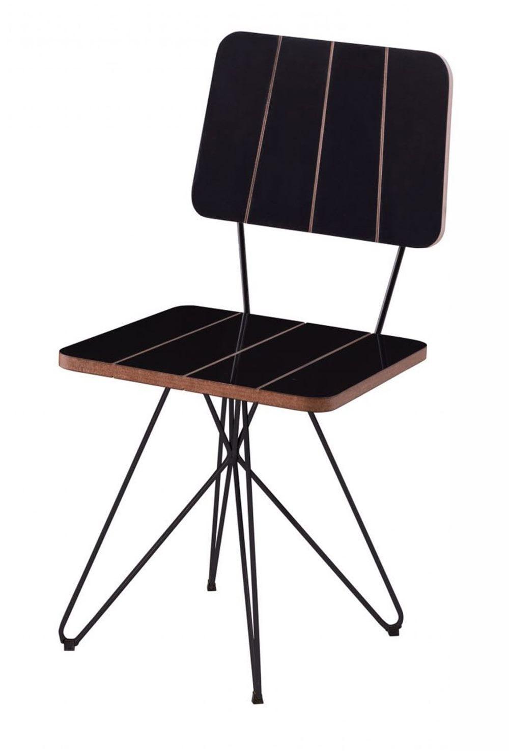 Cadeira Costinha Preta com Base Estrela Preta - 49556