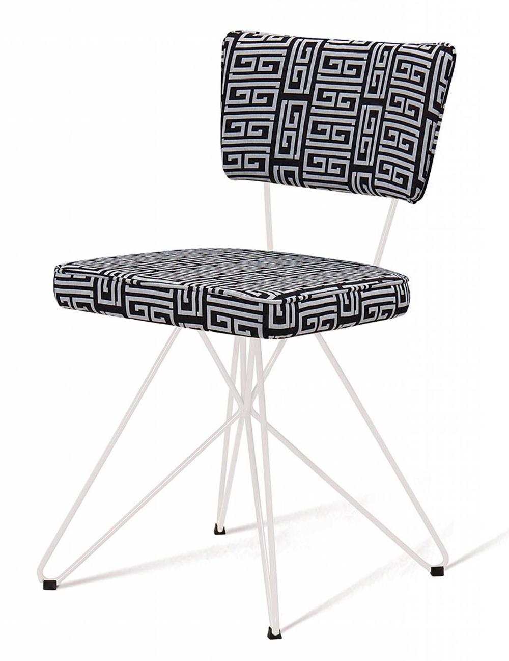 Cadeira Pop Retro Estampa Maze Base Estrela Branca - 49597