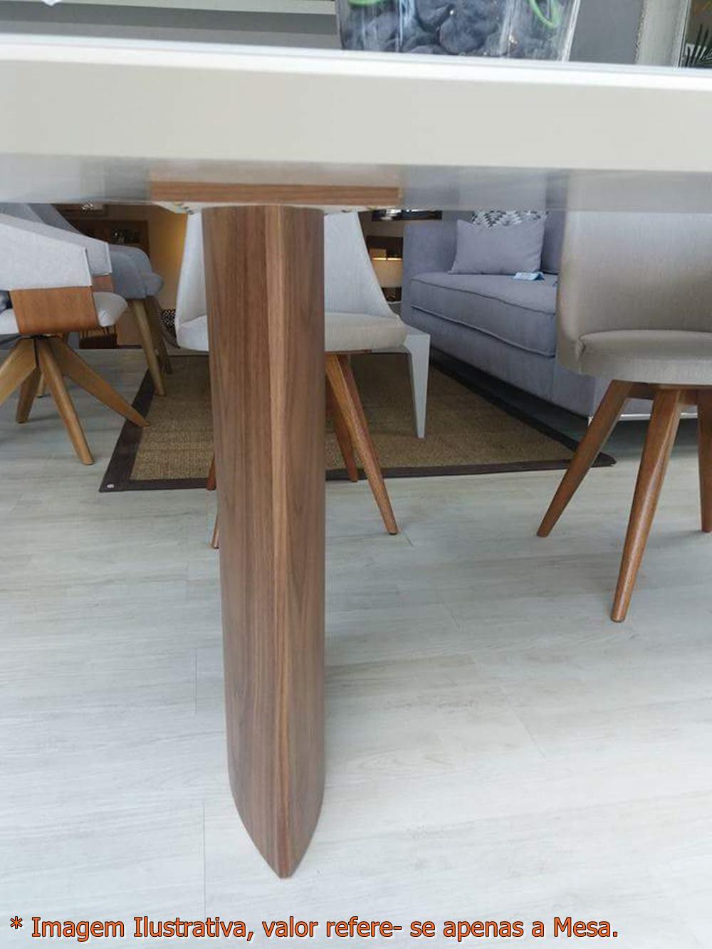 Mesa Jantar Disi Corda Acetinado com Nogueira 2,40 MT - 49796