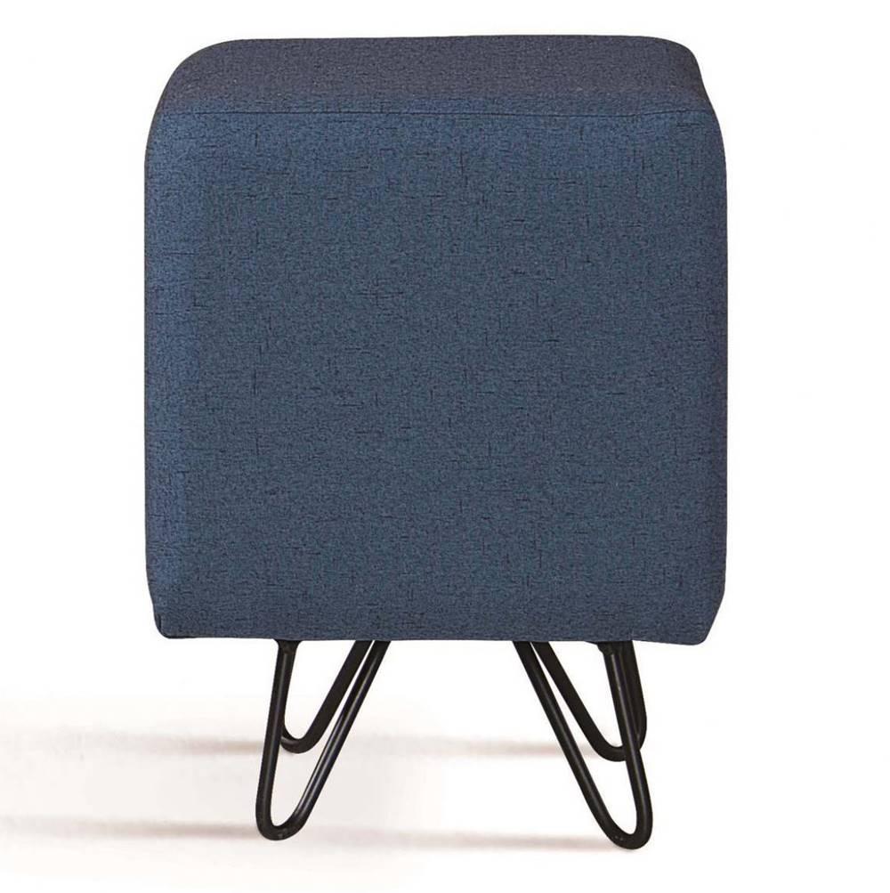 Puff Cube Azul Base Estrela Preta - 49871