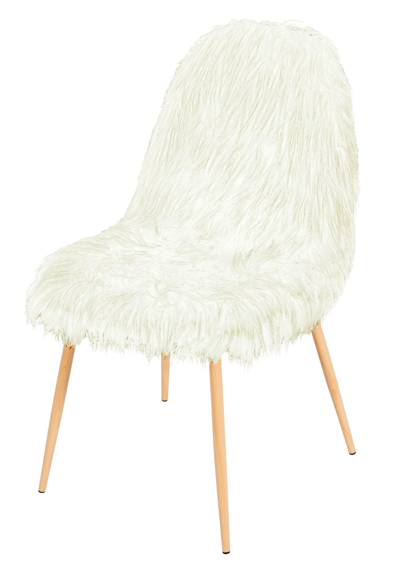 Cadeira Eames Pelinho Branco com Base Metal - 50000