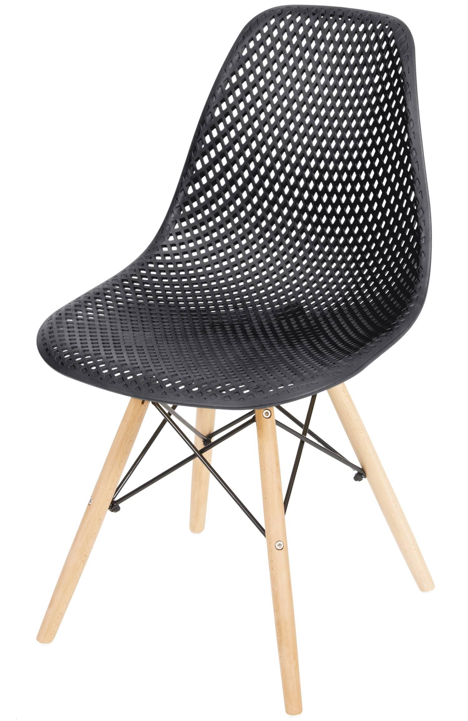 Cadeira Eames Furadinha cor Preta com Base Madeira - 50004
