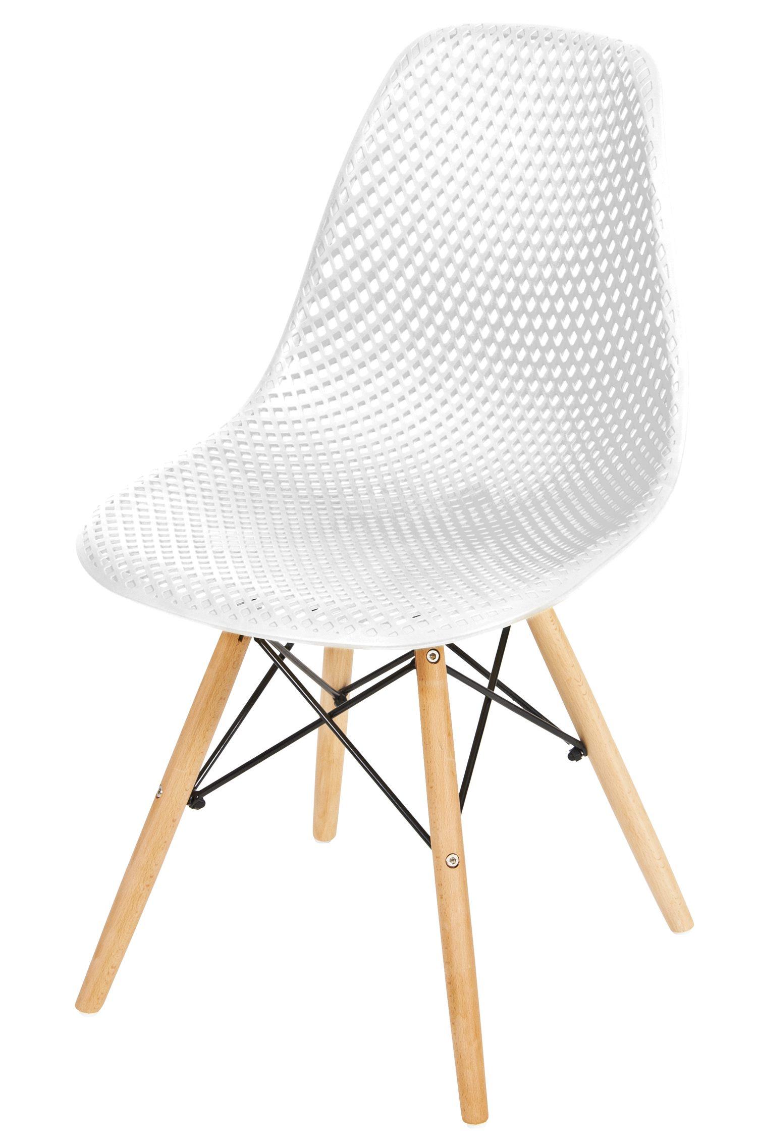 Cadeira Eames Furadinha cor Branca com Base Madeira - 50006