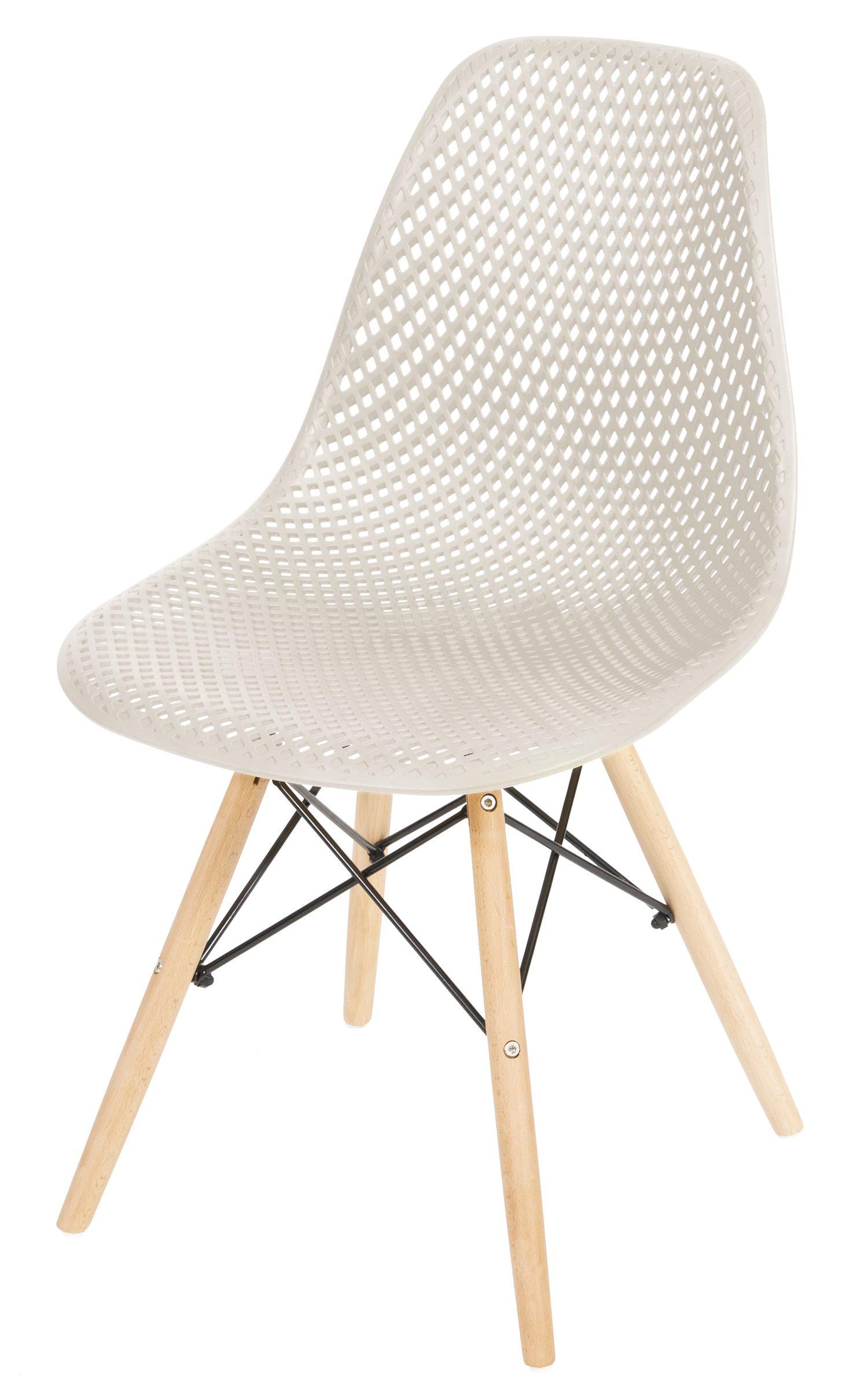 Cadeira Eames Furadinha cor Fendi com Base Madeira - 50007
