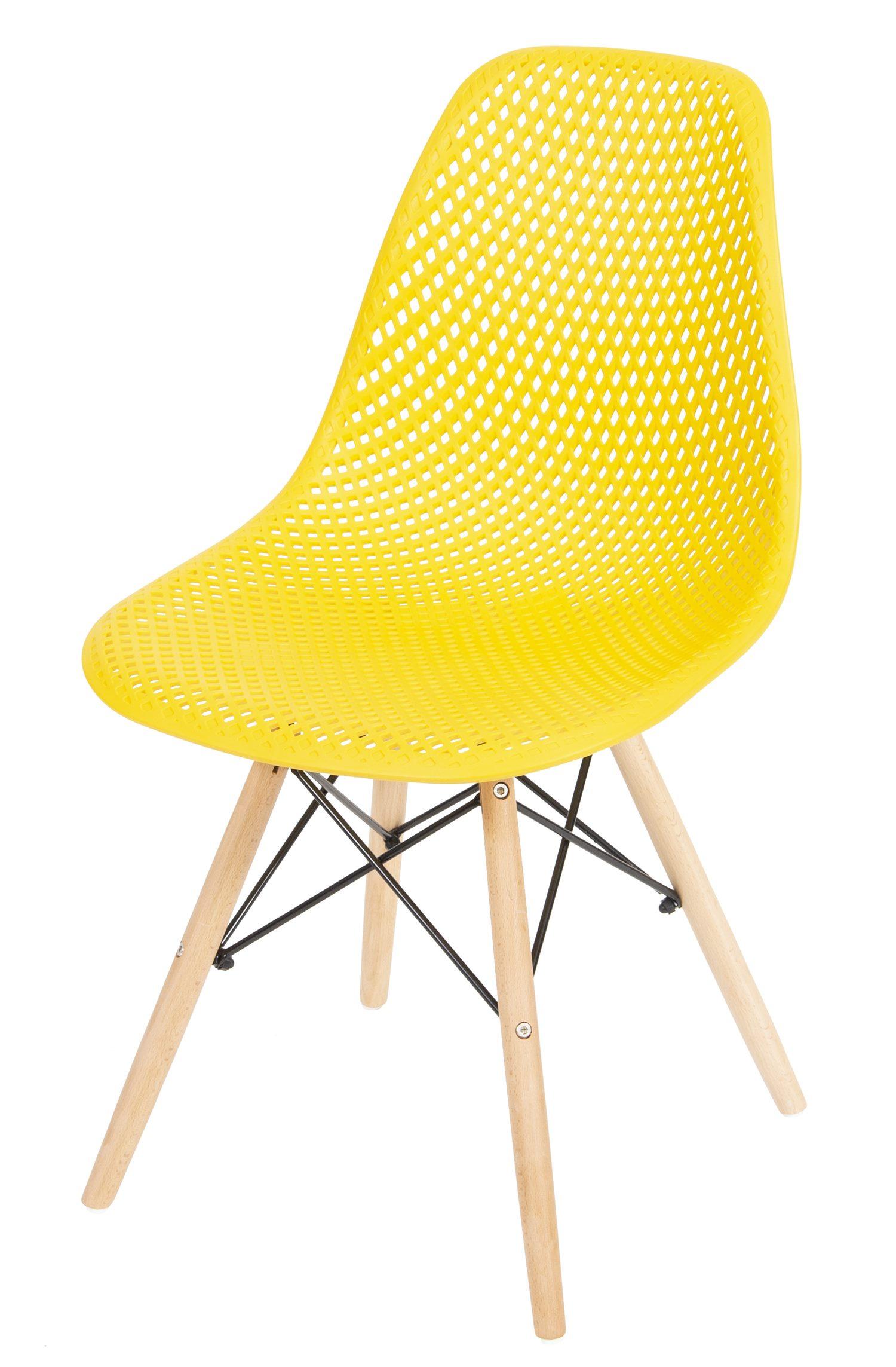 Cadeira Eames Furadinha cor Amarela com Base Madeira - 50008