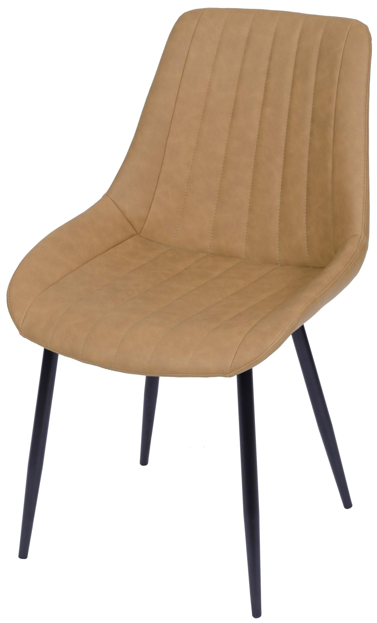 Cadeira Lounge Courino Caramelo com Costura Vertical - 50011