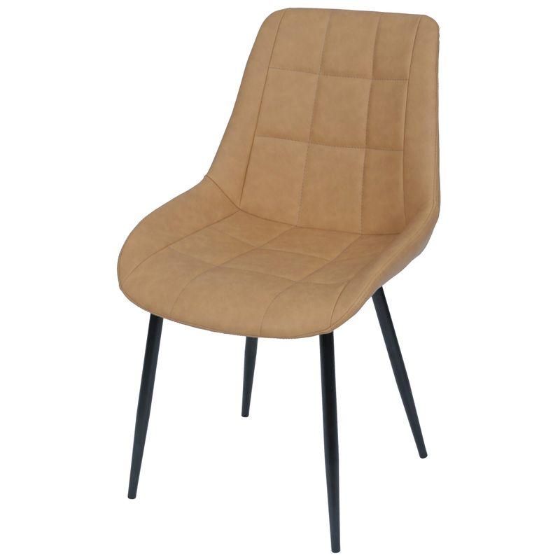 Cadeira-Lounge-PU-Caramelo-com-Costura-Quadriculada---50020
