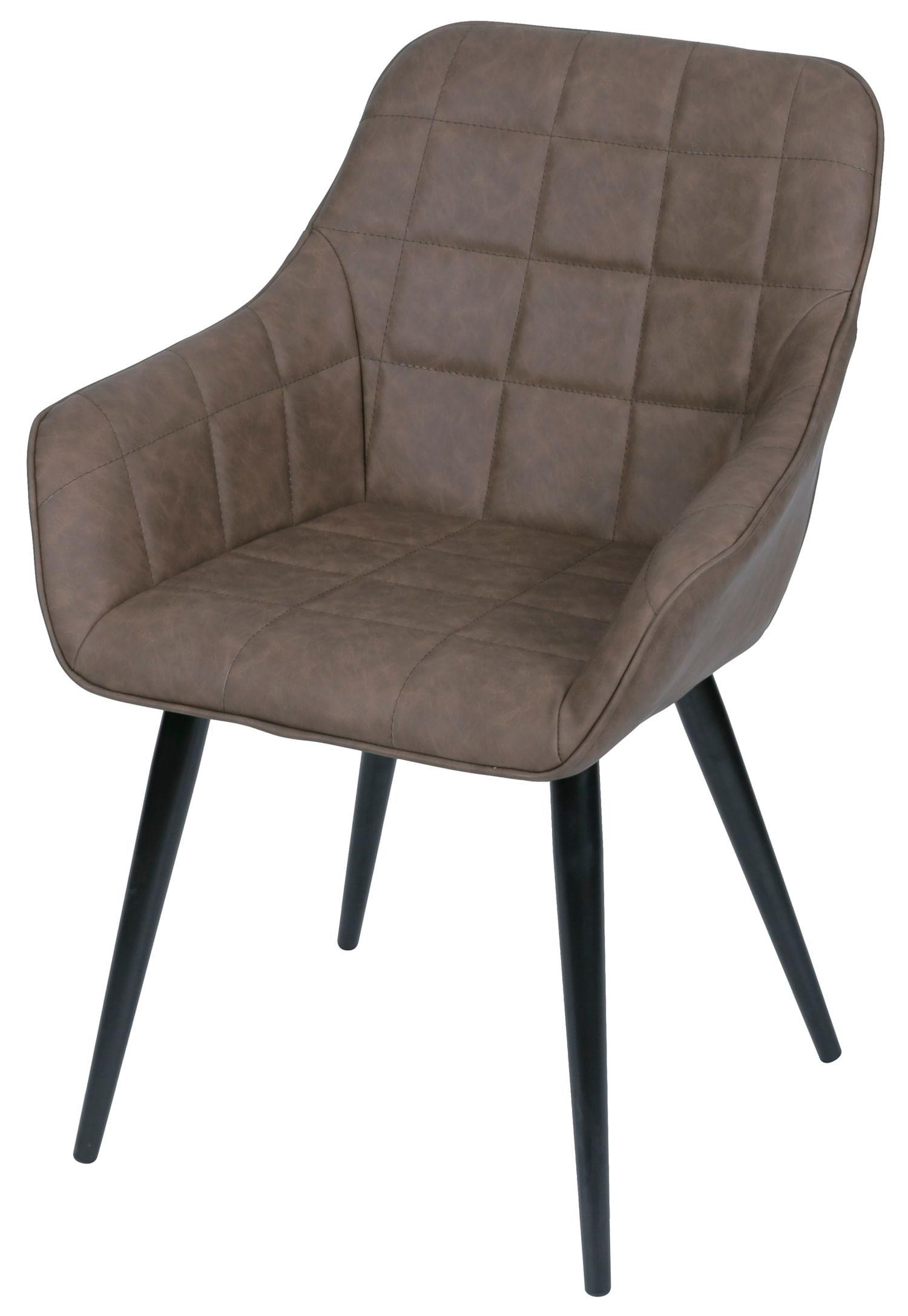 Cadeira Lounge com Braco Courino Cafe e Costura Quadriculada - 50022