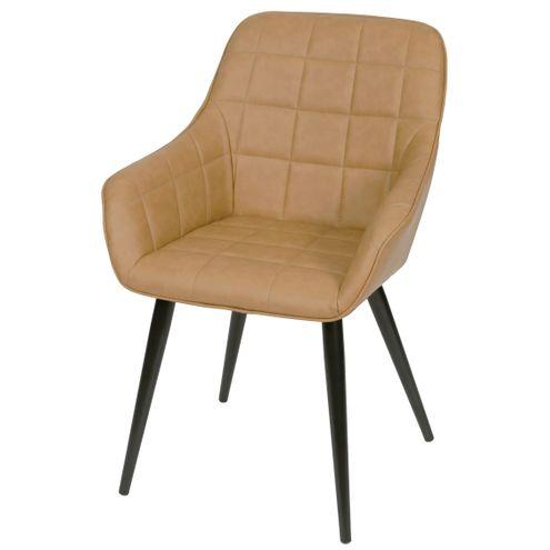Cadeira-Lounge-com-Braco-PU-Caramelo-e-Costura-Quadriculada---50023