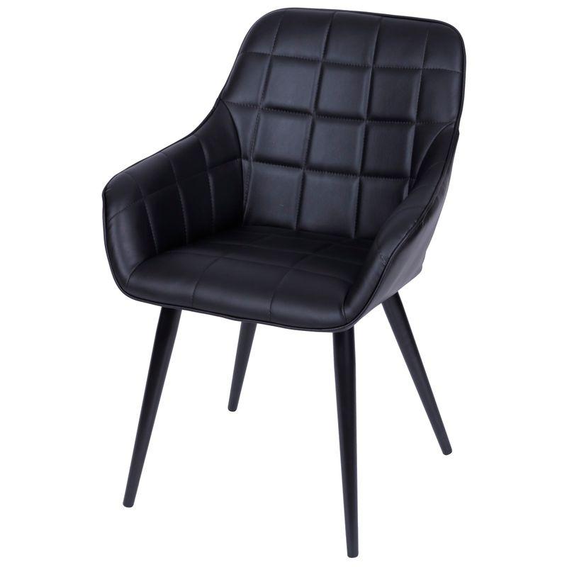 Cadeira-Lounge-com-Braco-PU-Preto-e-Costura-Quadriculada---50024