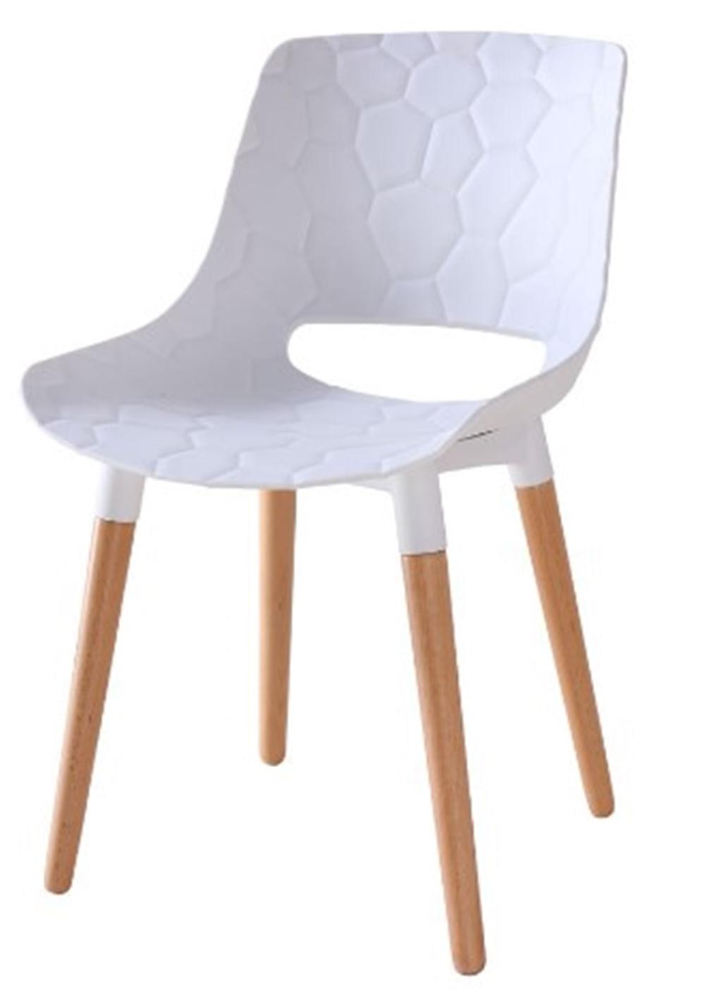 Cadeira Olivia Branca Base Madeira - 50073
