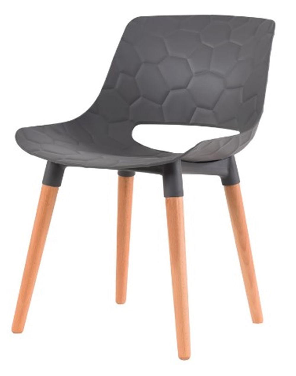 Cadeira Olivia Cinza Base Madeira - 50074