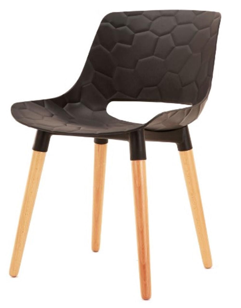 Cadeira Olivia Preta Base Madeira - 50075