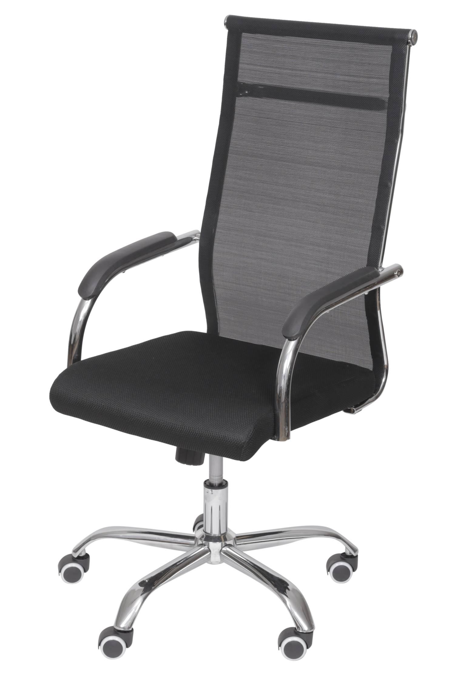 Cadeira Escritorio Basic Alta Tela Preta com Base Cromada - 50030