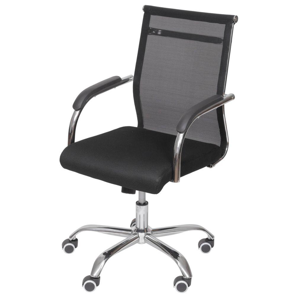 a680d61e76 Cadeira Escritorio Basic Baixa Tela Preta com Base Cromada - 50032 -  SunHouse