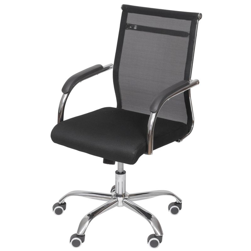 Cadeira-Escritorio-Basic-Baixa-Tela-Preta-com-Base-Cromada---50032