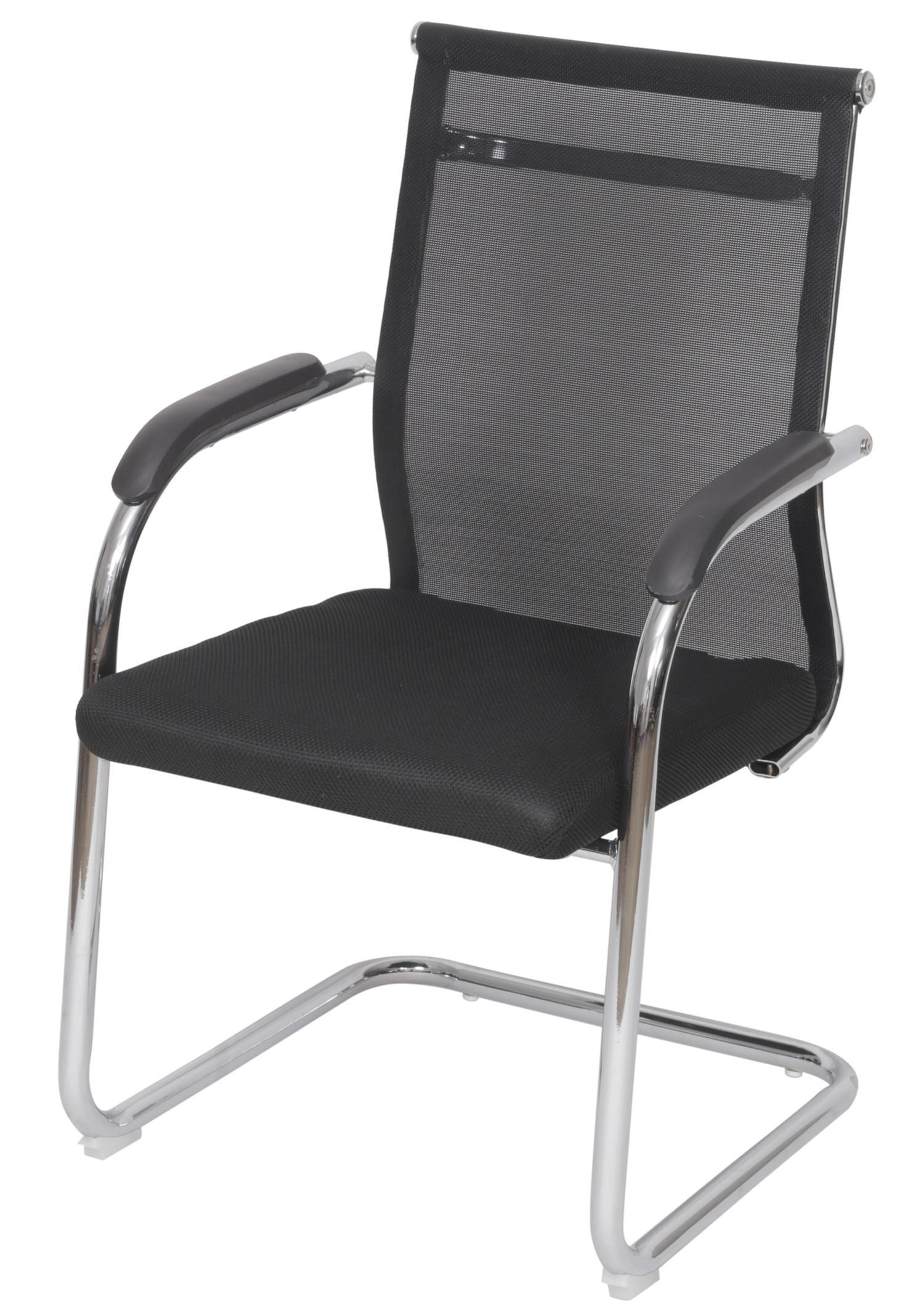 Cadeira Escritorio Basic Fixa Tela Preta com Base Cromada - 50034