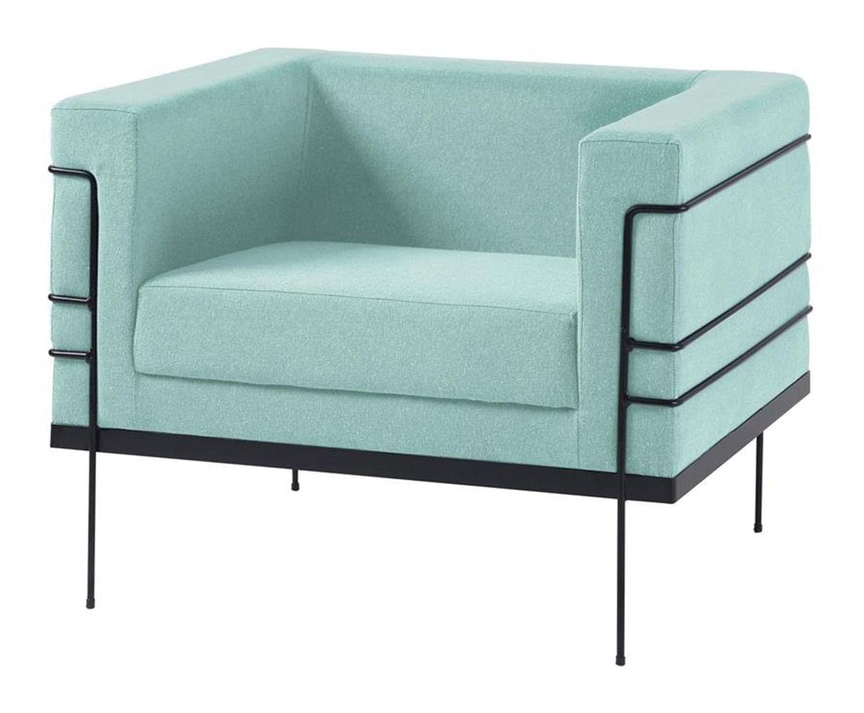 Poltrona Le Corbusier Azul Claro Base Preta - 50168