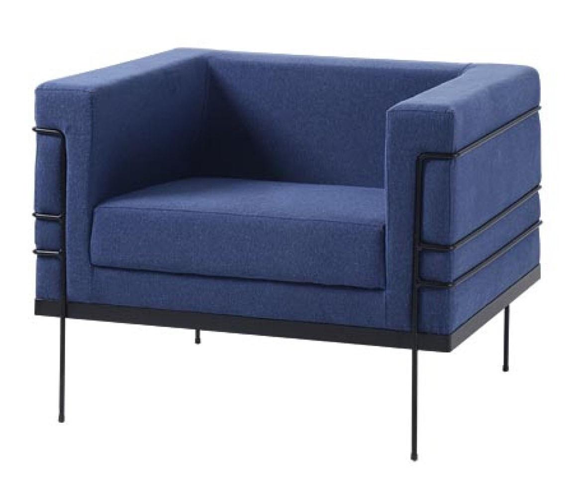 Poltrona Le Corbusier Azul Escuro Base Preta - 50169