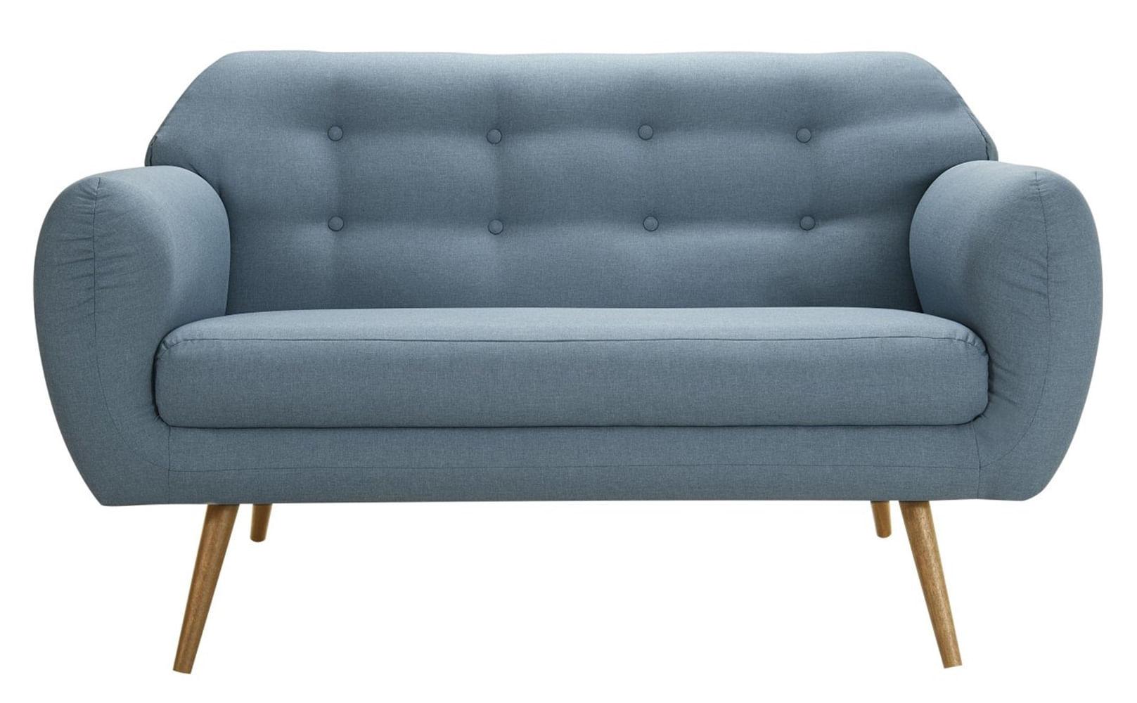 Sofa Liverpool Azul Base Palito Castanho 2 Lugares - 50254