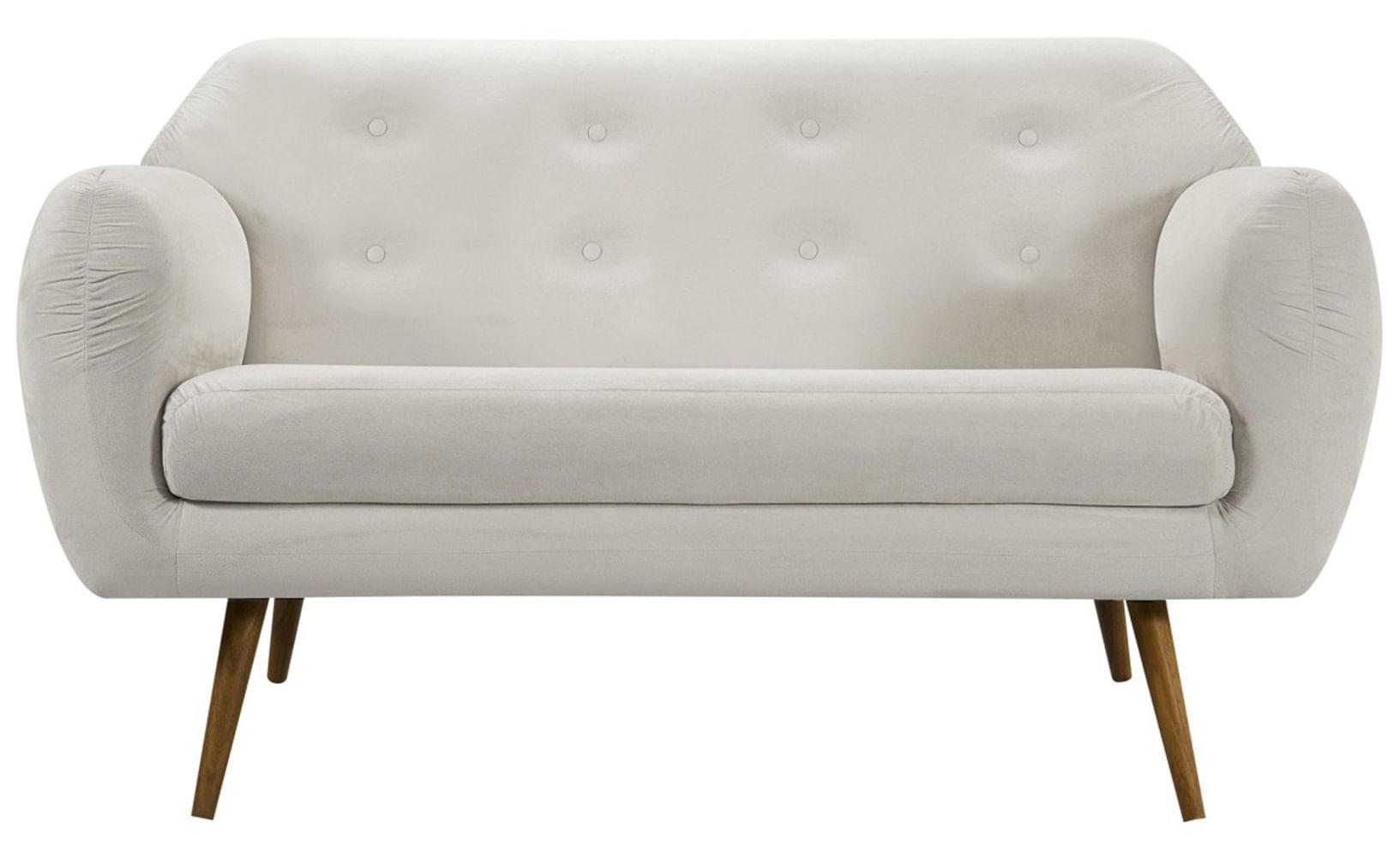Sofa Liverpool Branco Base Palito Castanho 2 Lugares - 50255