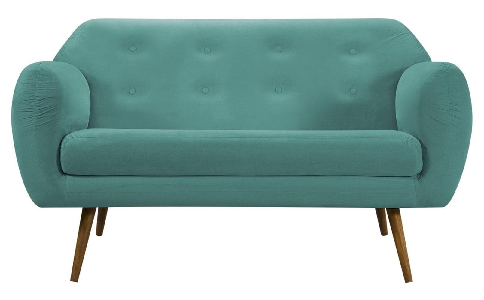 Sofa Liverpool Verde Base Palito Castanho 2 Lugares - 50256