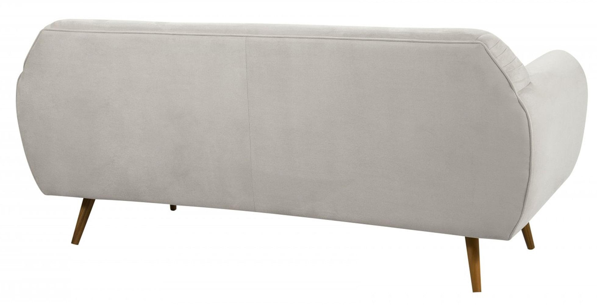 Sofa Liverpool Branco Base Palito Castanho 3 Lugares - 50260