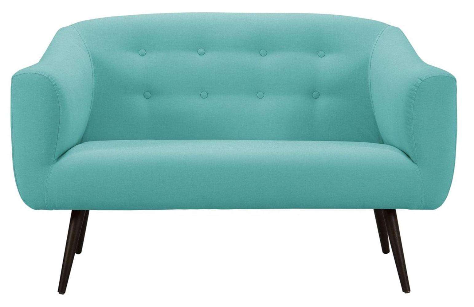 Sofa Zap Azul Claro Base Palito Tabaco 2 Lugares - 50292