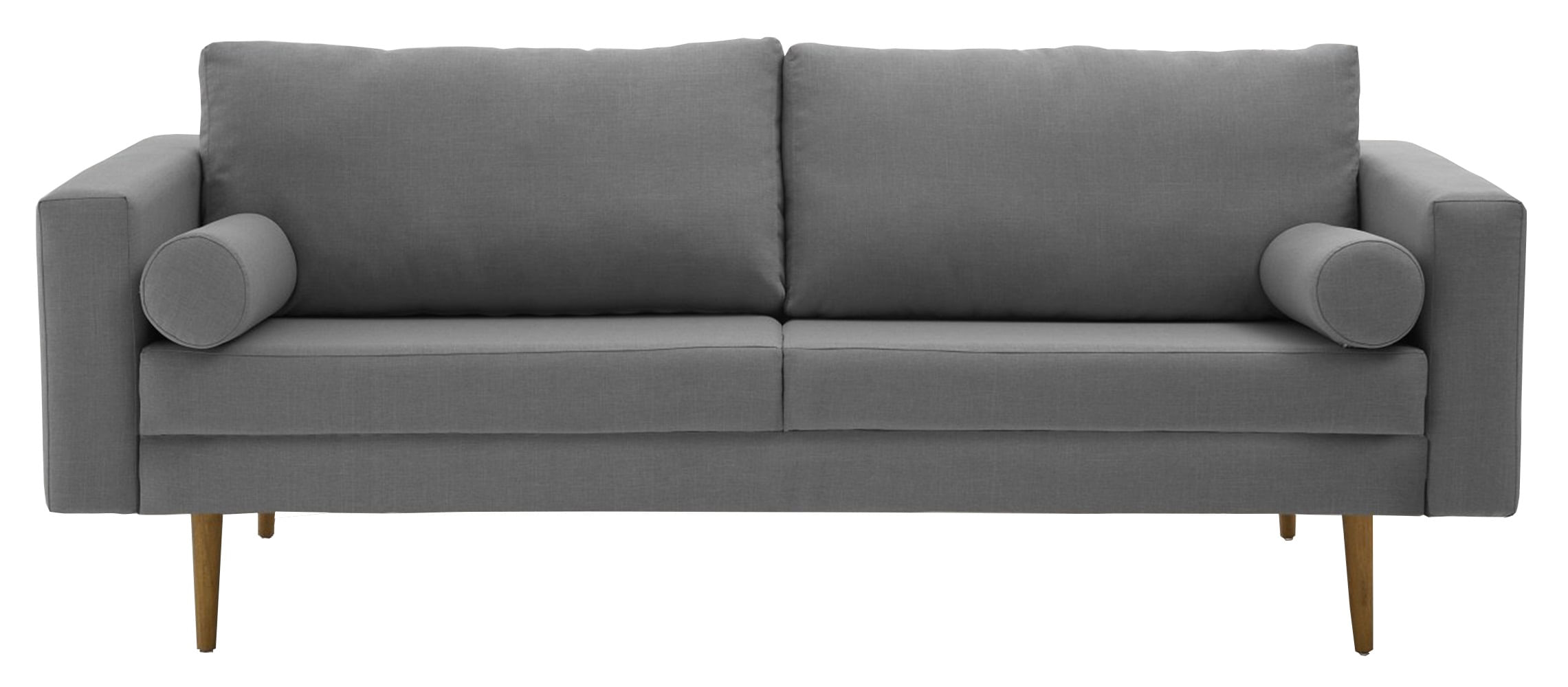 Sofa Rolls Cinza Base Castanho 2 Lugares - 50354