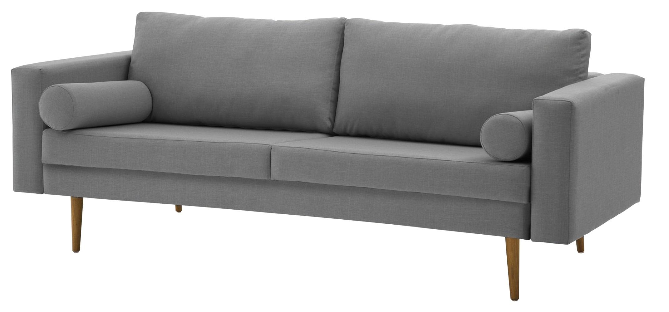 Sofa Rolls Cinza Base Castanho 3 Lugares - 50356