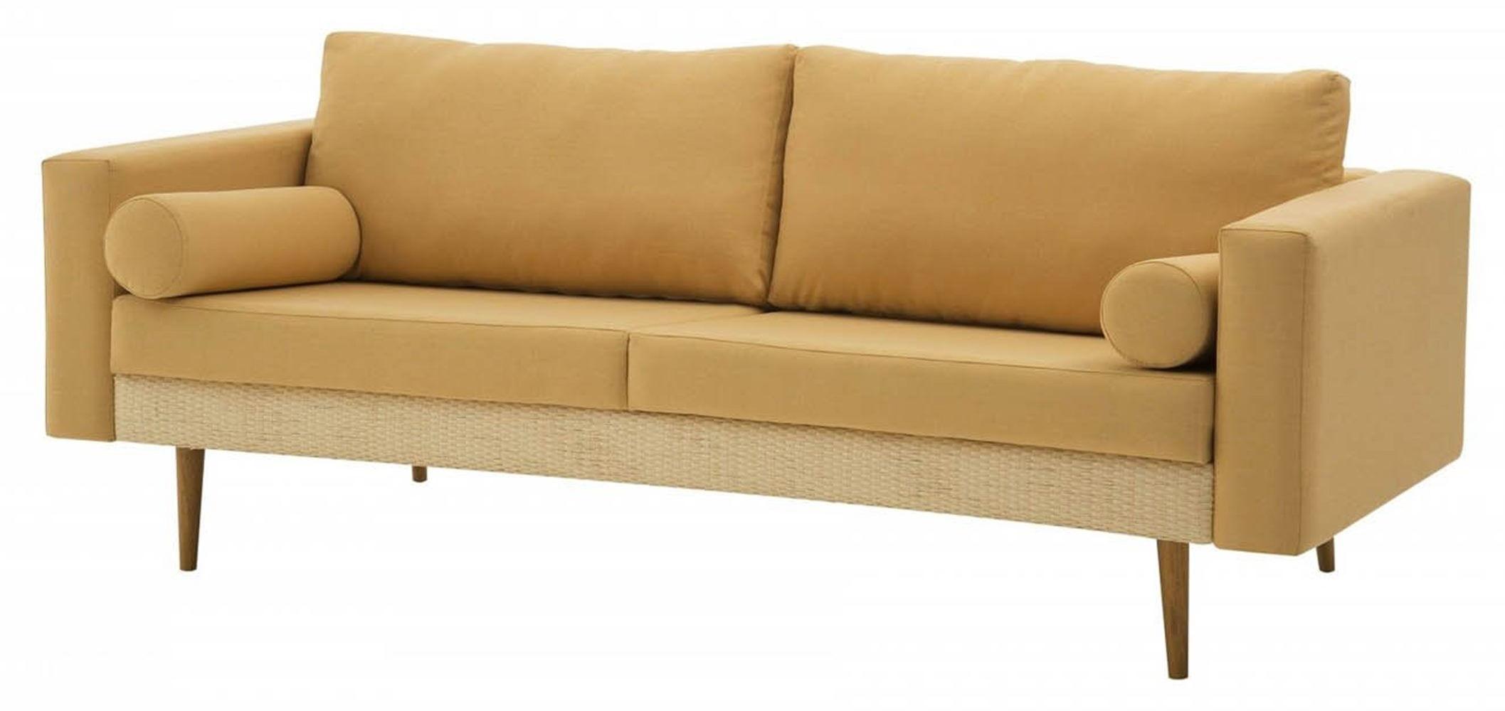 Sofa Rolls Areia com Palha Natural Base Castanho 3 Lugares - 50357