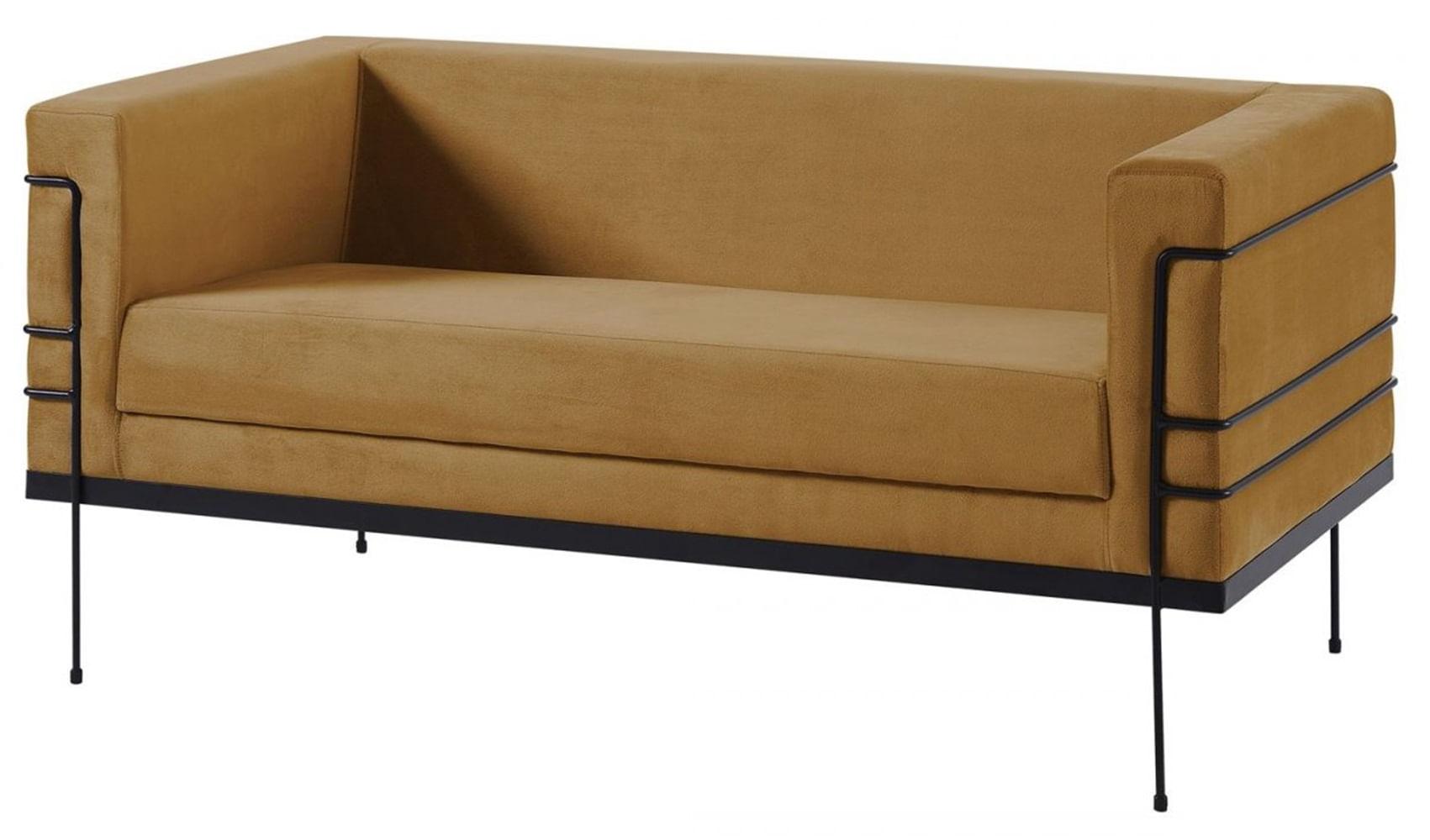 Sofa Le Corbusier Caramelo Base Aco Preto 2 Lugares - 50362