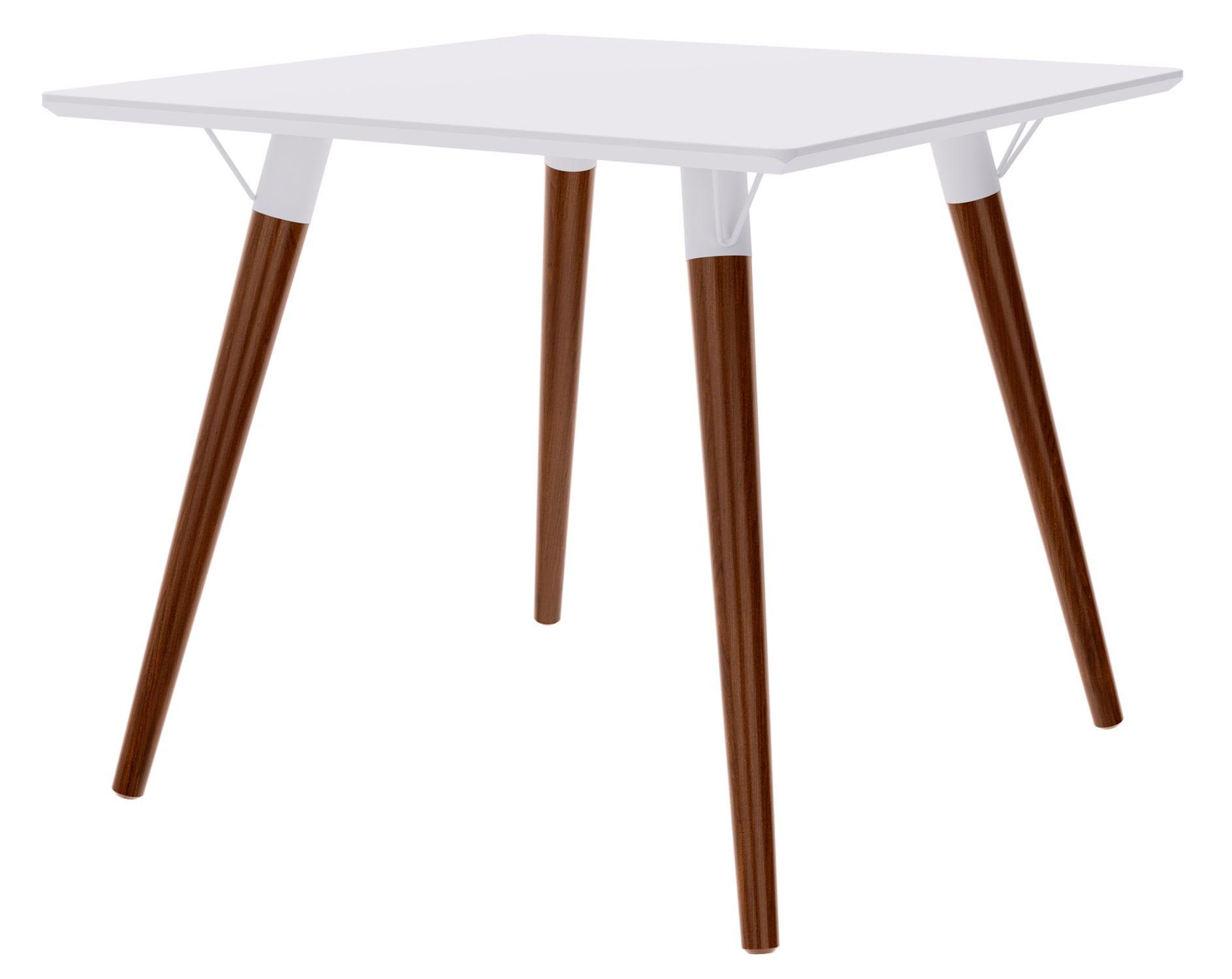 Mesa Jantar Quadrada Formato Tampo Branco Fosco com Pes Escuros 90 cm - 47965