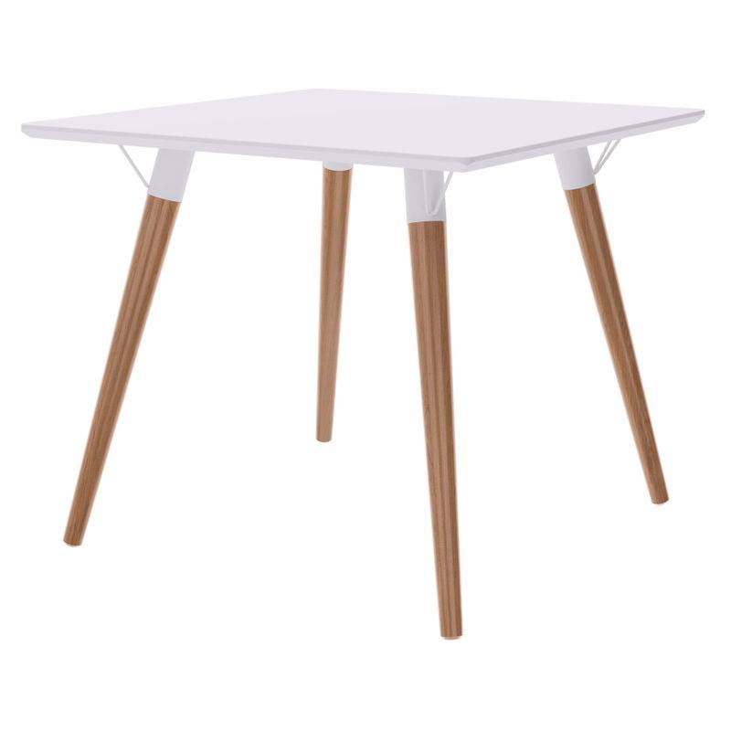 Mesa-Jantar-Quadrada-Formato-Tampo-Branco-Fosco-com-Pes-Claros-90-cm--LARG----50599-