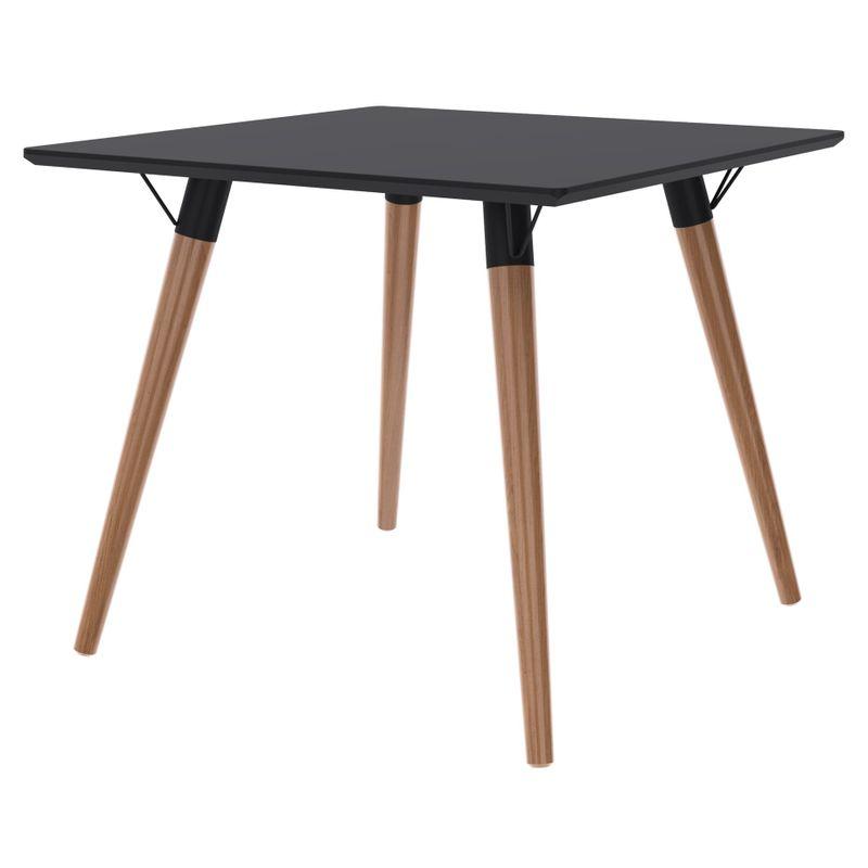 Mesa-Jantar-Quadrada-Formato-Tampo-Preto-Fosco-com-Pes-Claros-90-cm--LARG----50600