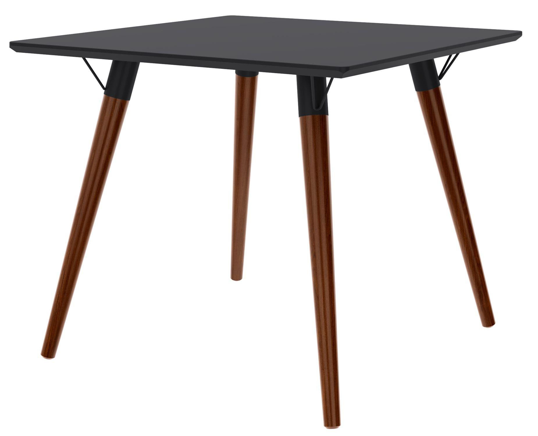 Mesa Jantar Quadrada Formato Tampo Preto Fosco com Pes Escuros 90 cm  - 50601