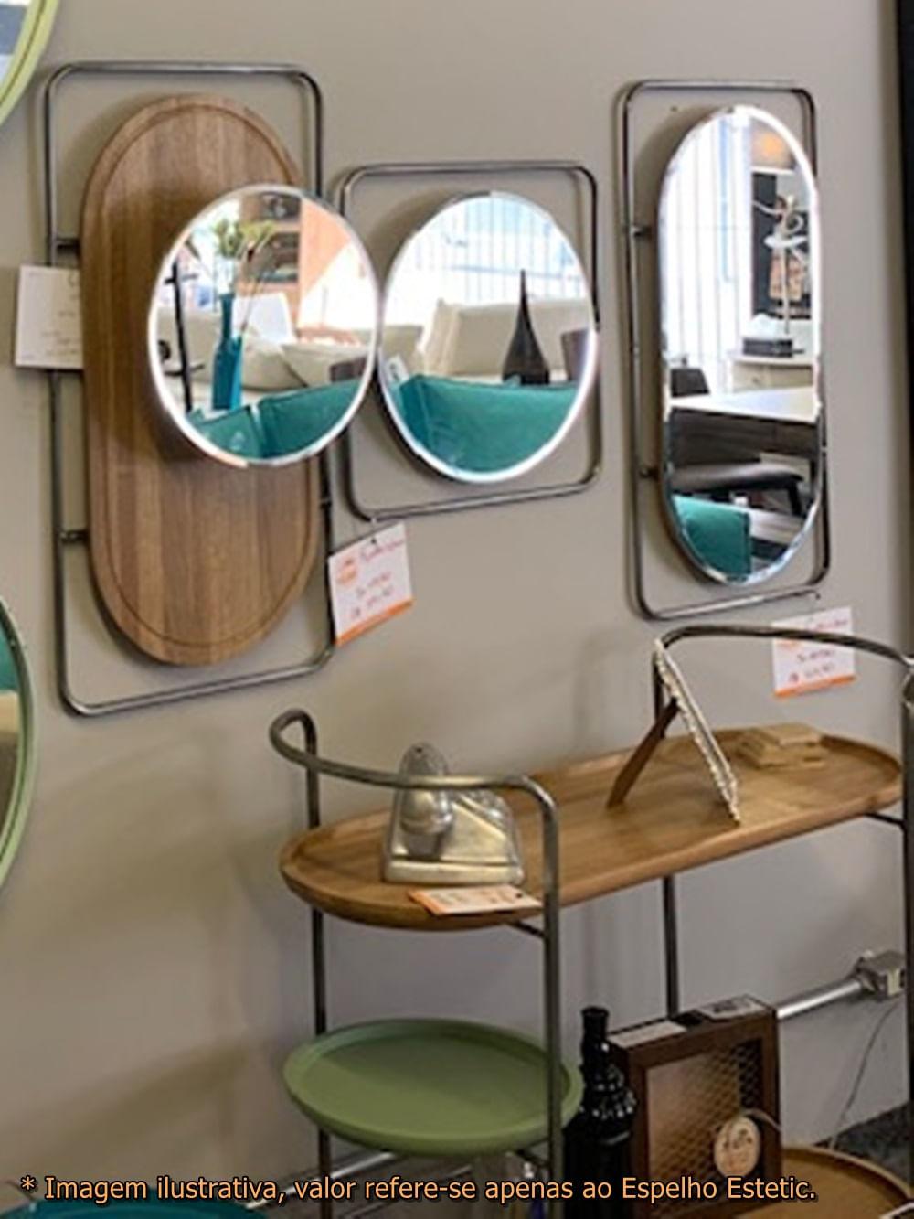 Espelho Estetic Redondo Base Madeira Natural e Metalico 80 cm (ALT) - 50456