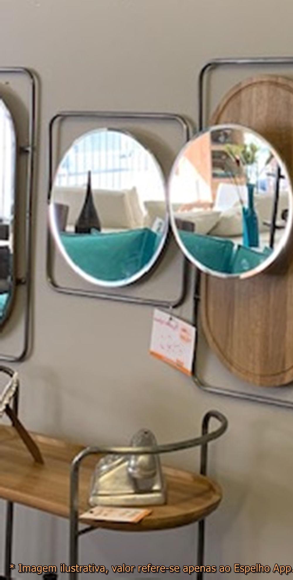 Espelho App Redondo Base Quadrada Metalica 48 cm (LARG) - 50458
