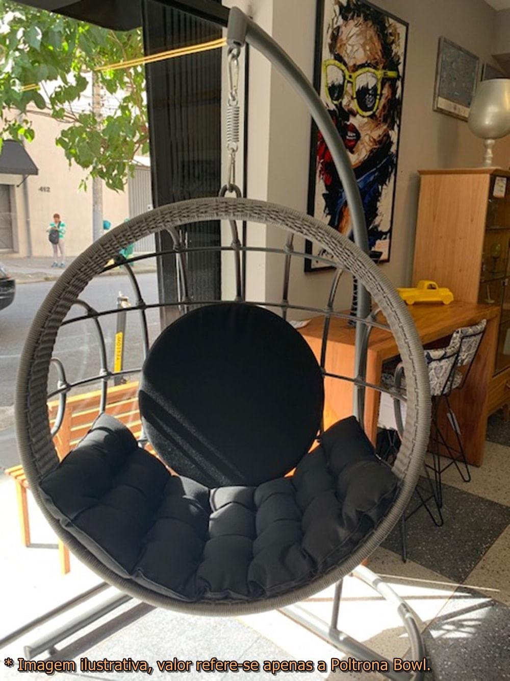 Poltrona Balanco Bowl Preto Revestido em Corda Prata com Suporte de Chao Pintura Eletrostatica Grafite - 50859