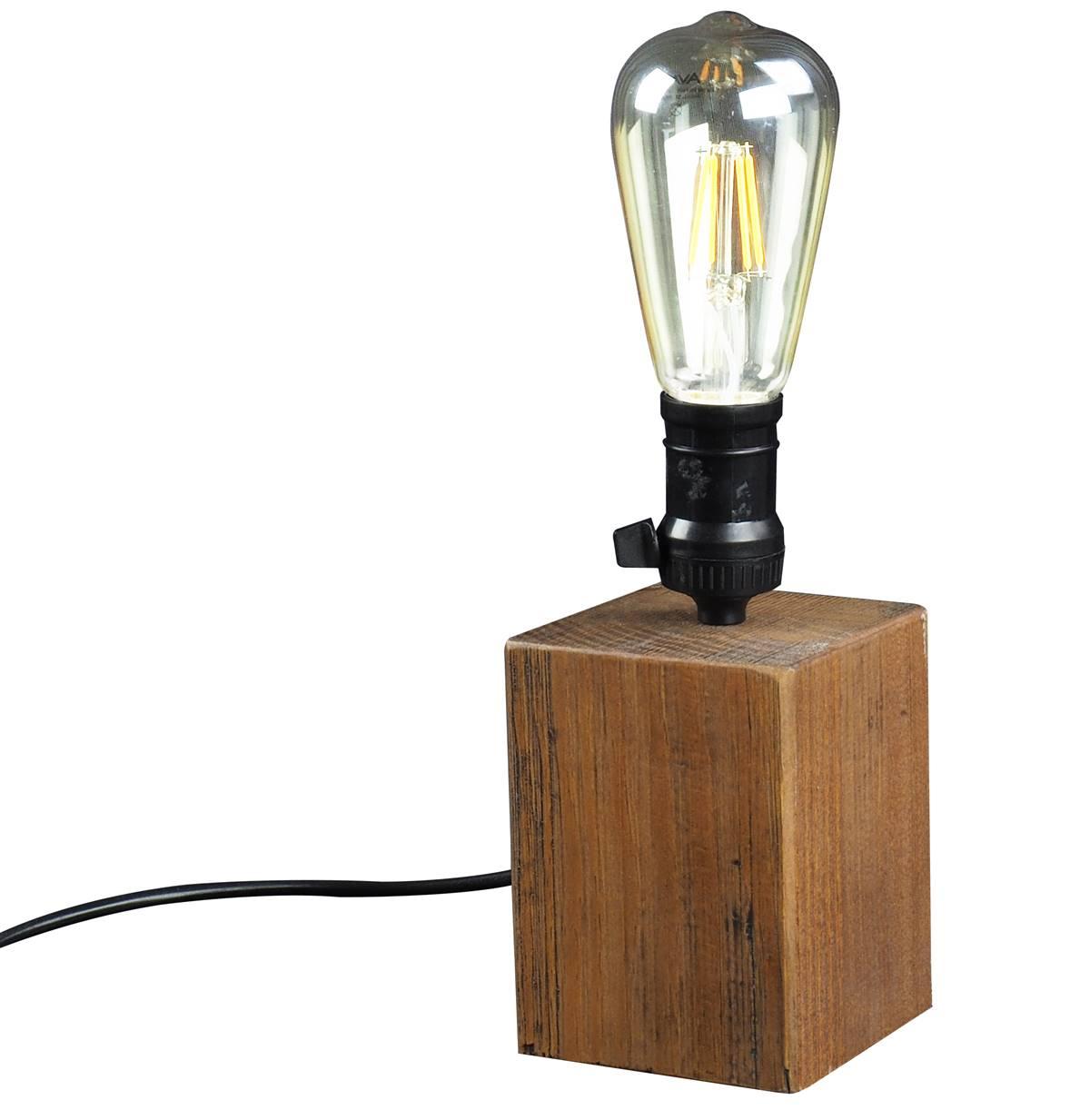 Luminaria de Mesa Lamp em Madeira cor Rustic Brown 18 cm (ALT) - 50870