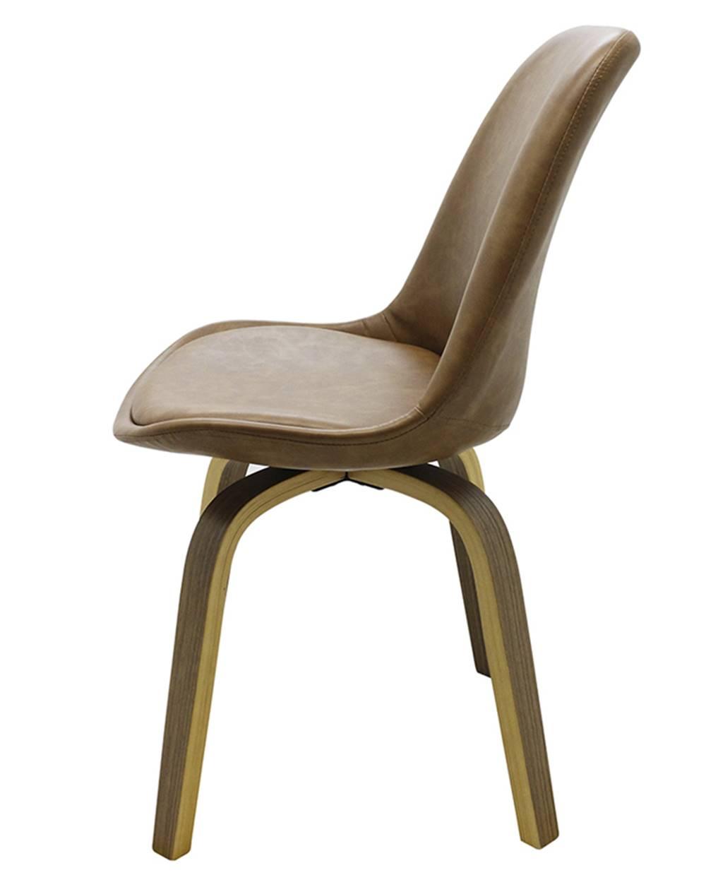 Cadeira Lis Eames Revestida PU Marrom Base Madeira Mescla - 51147