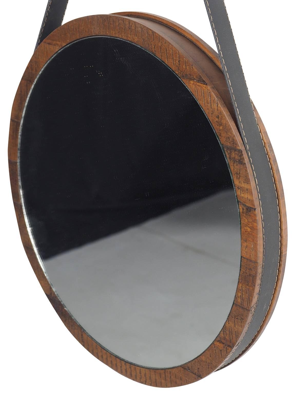 Espelho Berlim com Moldura cor Rustic Brown 65 cm (LARG) - 51129