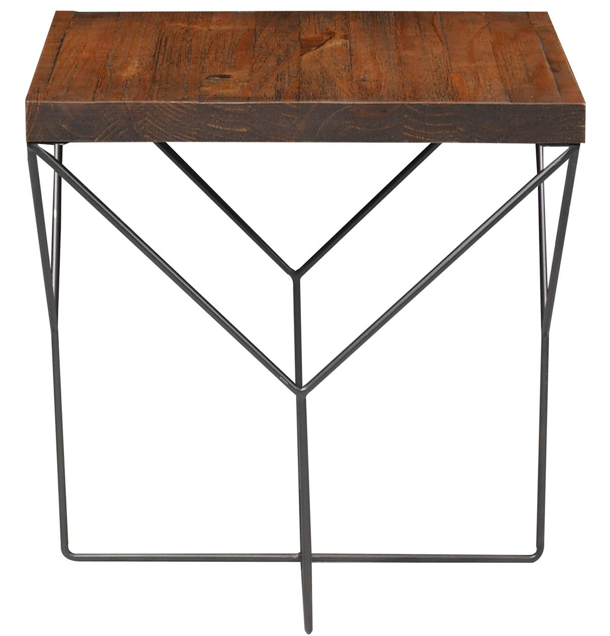 Mesa Lateral Abbey Yvi Rustic Brown com Base Grafite 55 cm (ALT) - 50090