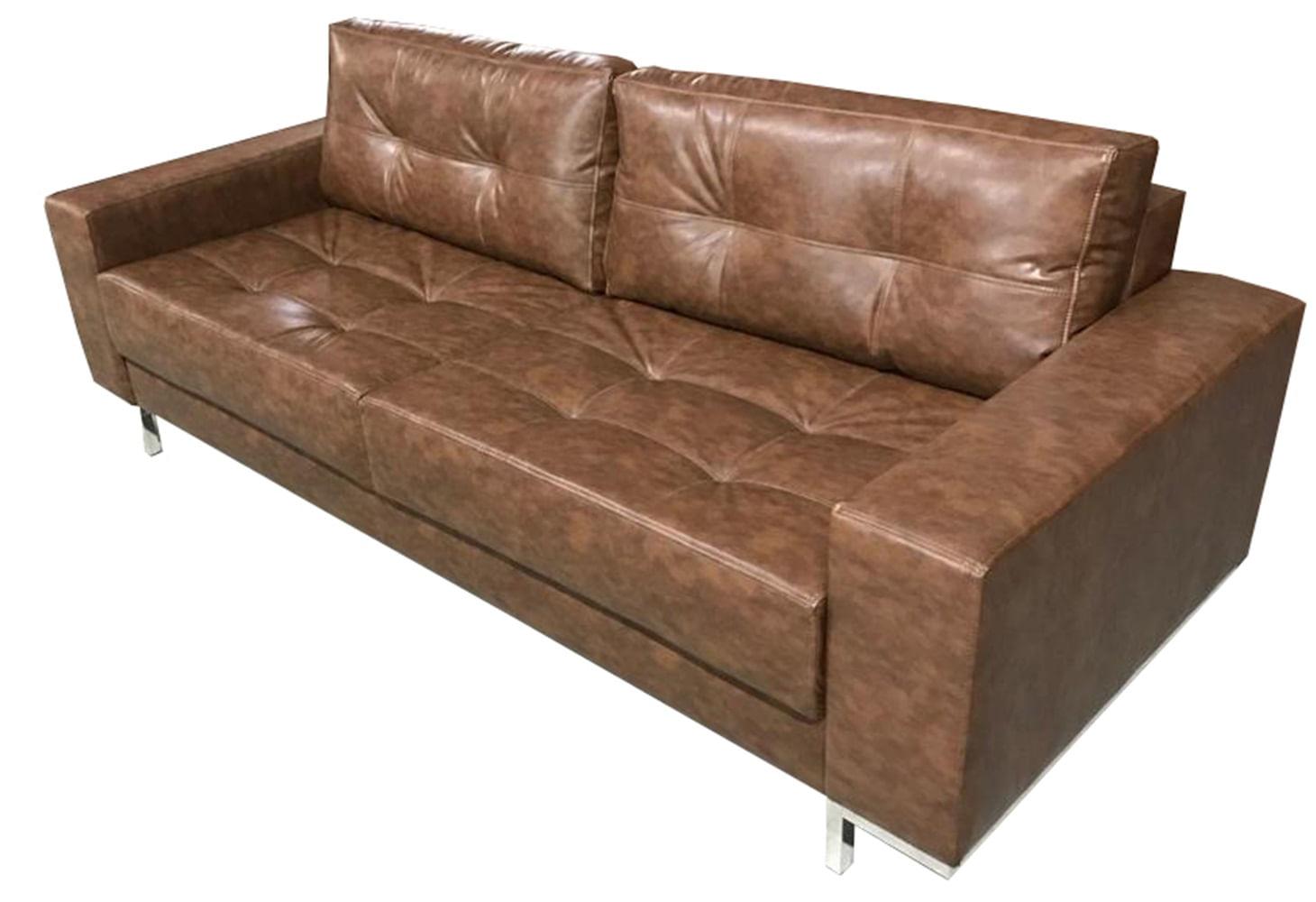 Sofa Fashion Courino Marrom Base Cromada 1,60 MT (LARG) - 51742